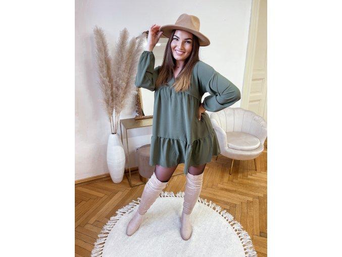 Voľná tunika s dlhým rukávom v khaki zelenej