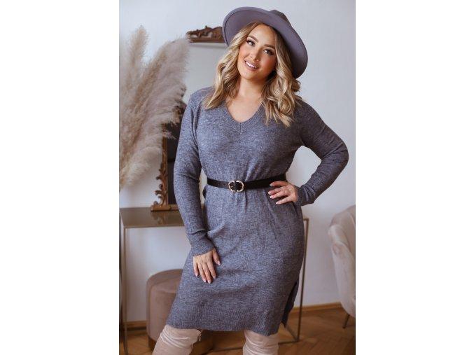 Svetrové šaty s dlhým rukávom v tmavo sivej