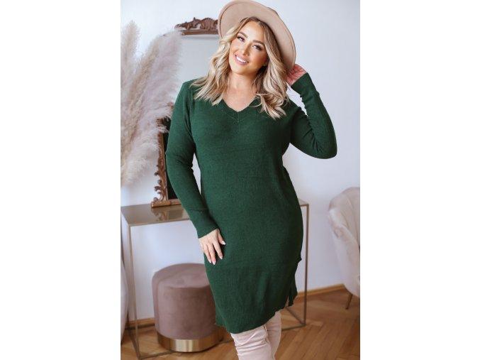 Svetrové šaty s dlhým rukávom v zelenej