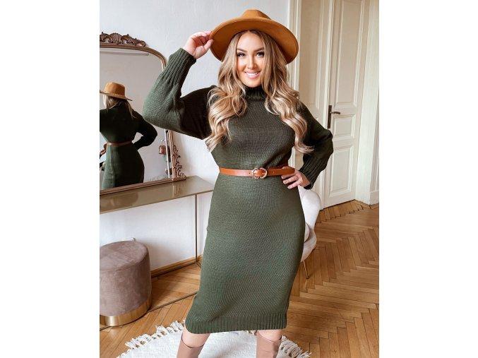Khaki rolákové svetrové šaty v midi dĺžke