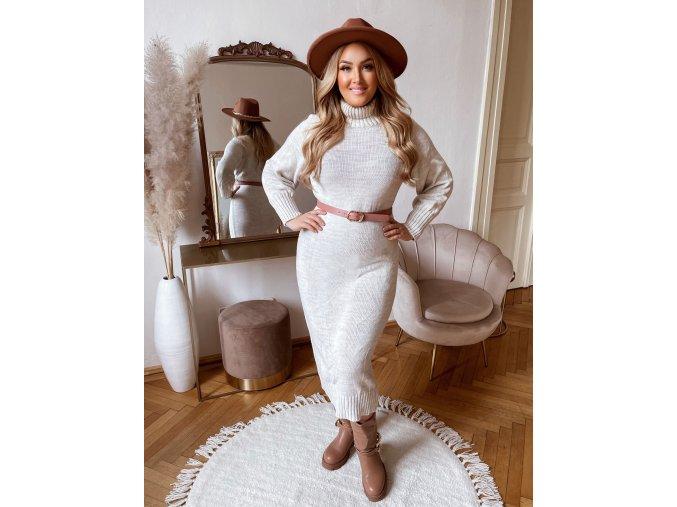 Rolákové svetrové šaty v midi dĺžke v smotanovej farbe
