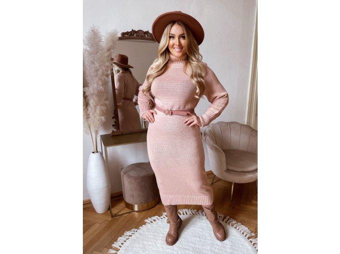 Rolákové svetrové šaty v midi dĺžke v staro ružovej farbe