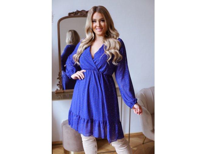 Krátke šaty s dlhým rukávom a zlatým bodkovaným vzorom - modrá