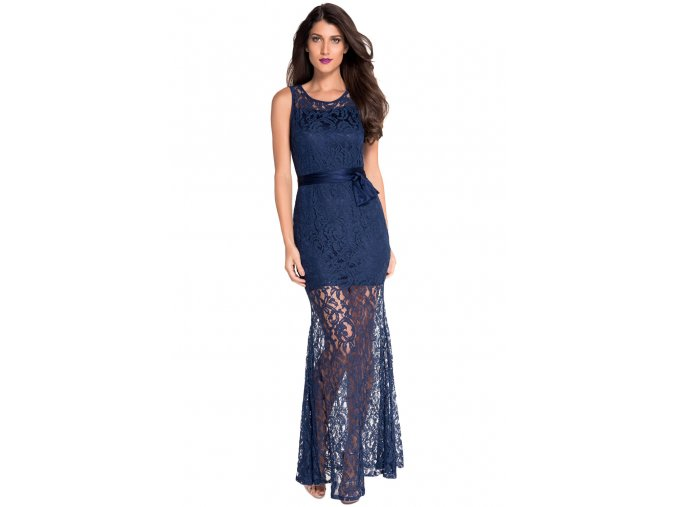 Navy Lace Satin Patchwork Party Maxi Dress LC6809 2 5