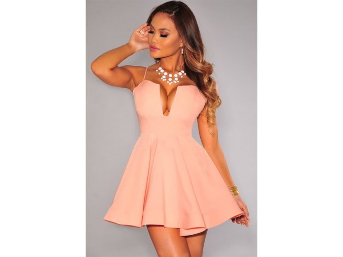 Peach Plunging Flared Padded Dress LC22198 1 1