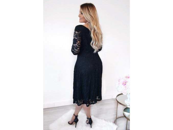 Black Floral Lace Sleeved Fit and Flare Curvy Dress LC61395 2 1