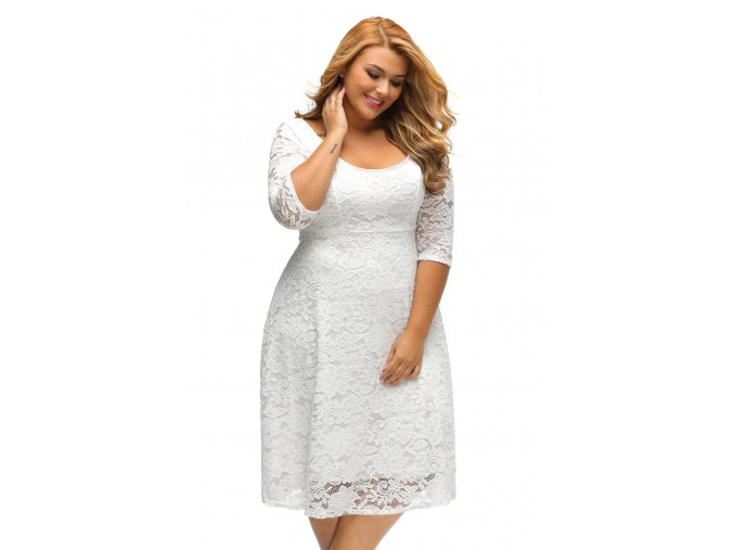 White Floral Lace Sleeved Fit and Flare Curvy Dress LC61395 1 1