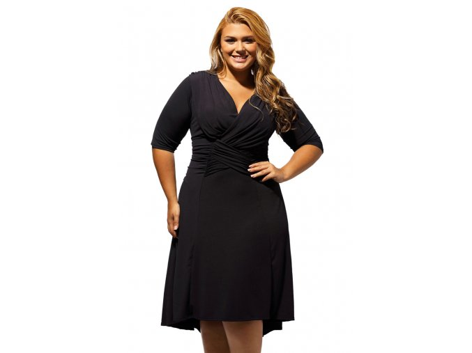 Black Curvaceous Ruched Plus Dress LC61394 2 1