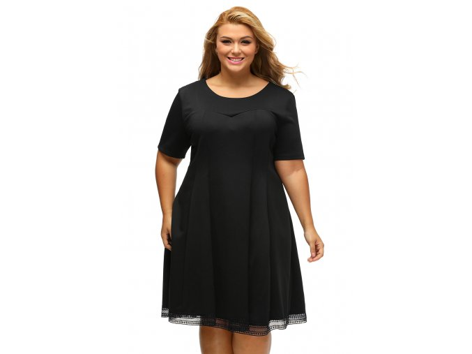 Black V Back Lace Hemline Curvy Skater Dress LC61432 2 1
