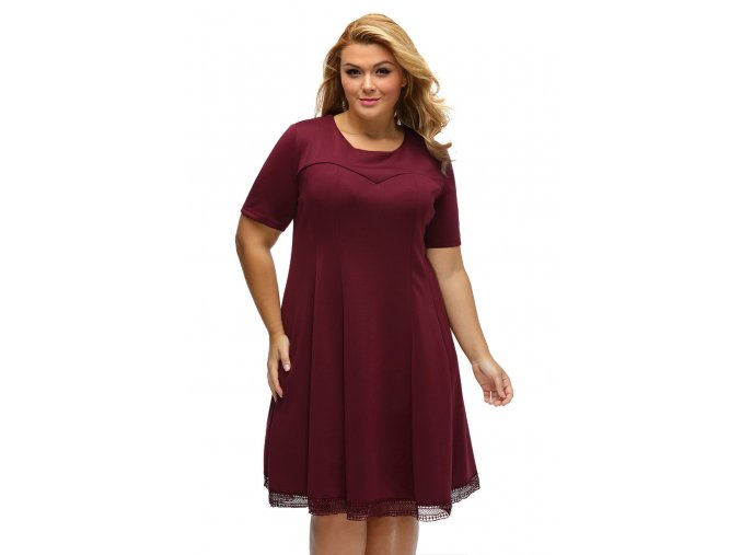 Burgundy V Back Lace Hemline Curvy Skater Dress LC61432 3 1