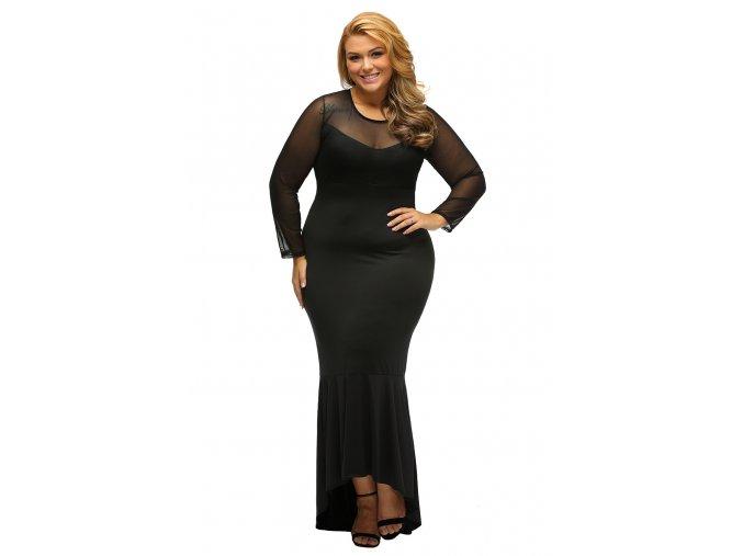 Black Sheer Mesh Splice Curvy Mermaid Dress LC61086 2 6