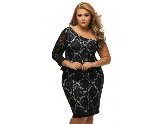 Black Lace Illusion Curvaceous One Shoulder Peplum Dress LC61332 2 4