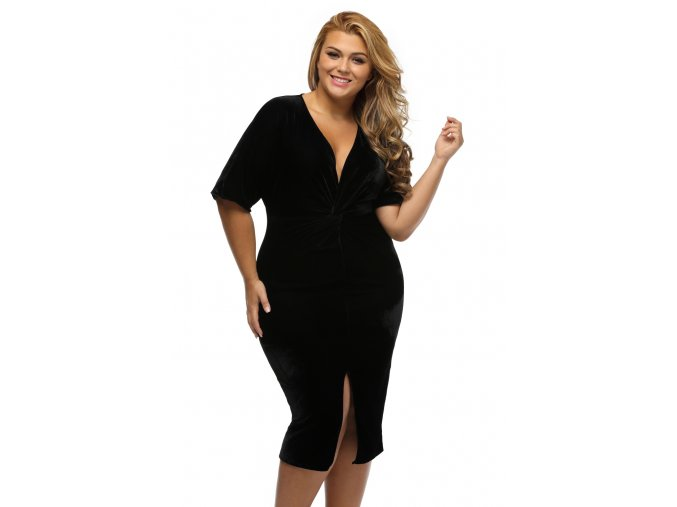 Black Kimono Sleeve Knotted Pleated Front Plus Size Dress LC61307 2 5
