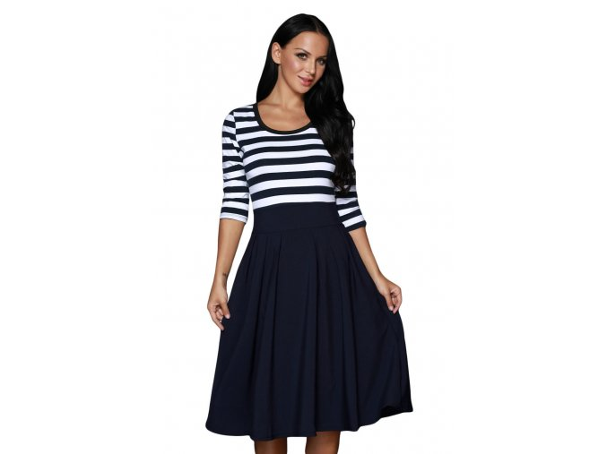 Navy White Stripes Scoop Neck Sleeved Casual Swing Dress LC61447 5 1