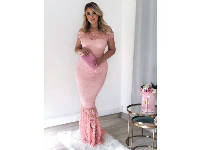 Pink Bardot Lace Fishtail Maxi Dress LC61481 10 1