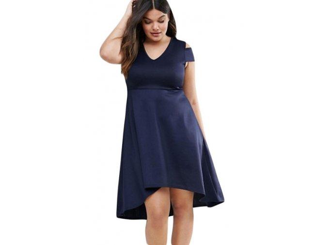 Navy Blue Plus Exposed Shoulder Skater Dress LC22977 5 1