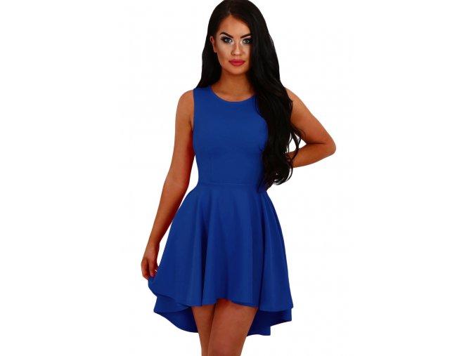 Royal Blue Pleated Hi low Hem Sleeveless Skater Dress LC22989 5 1