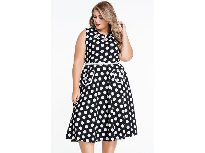 Black Plus Size Polka Dot Bohemain Print Dress with Keyholes LC61043 2P 4