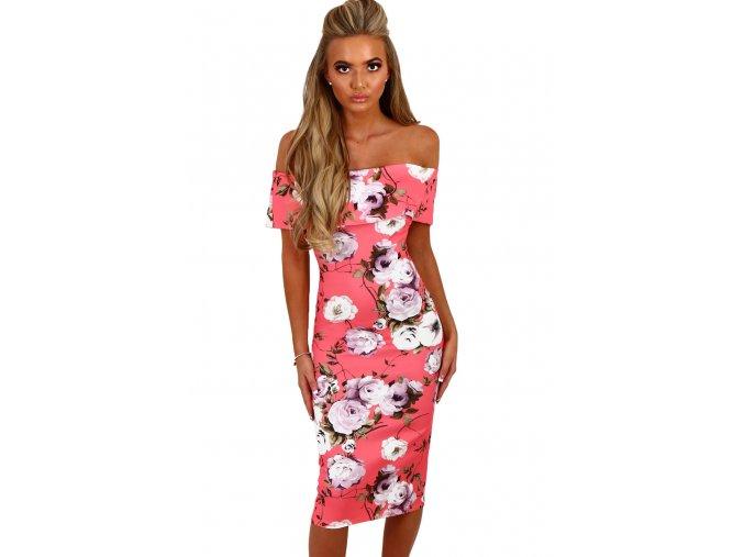 Pink Multi Floral Bardot Bodycon Midi Dress LC61536 10 1