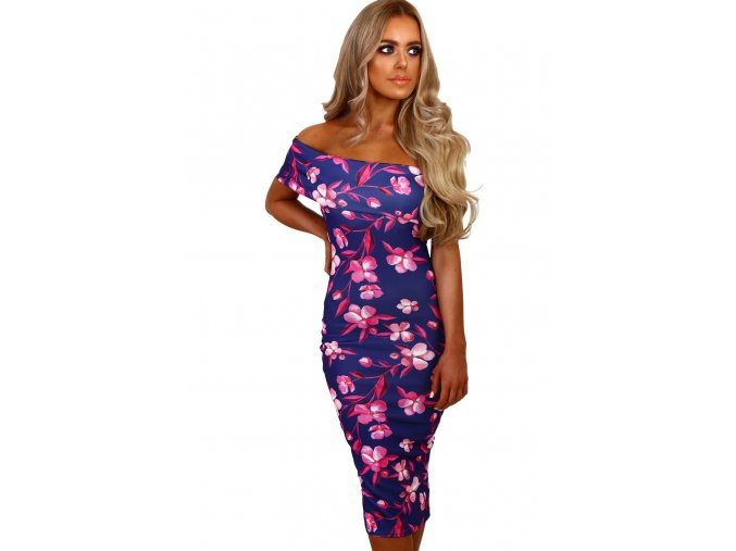 Blue and Pink Floral Bardot Midi Dress LC61536 5 1