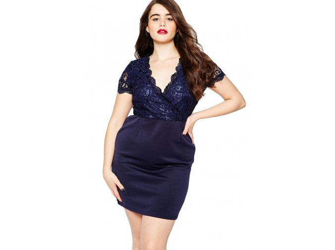 Navy Scalloped Lace Top Plus Size Bodycon Dress LC22700 5 1