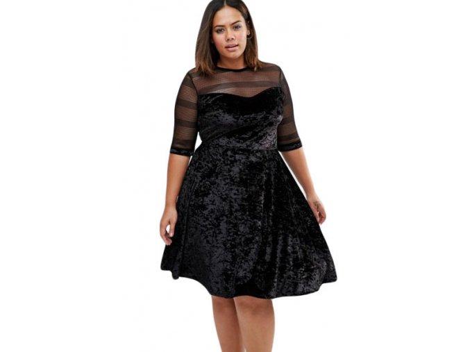 Plus Size Mesh Insert Black Velvet Swing Dress LC61329 2 1