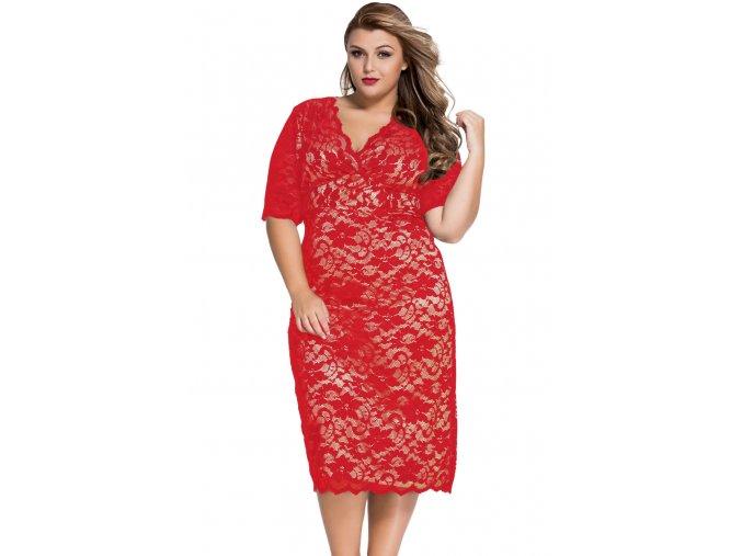 Červeno telové čipkované šaty