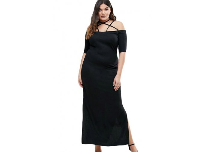 Strap Detail Plus Maxi Dress with Side Slits LC61465 2 1