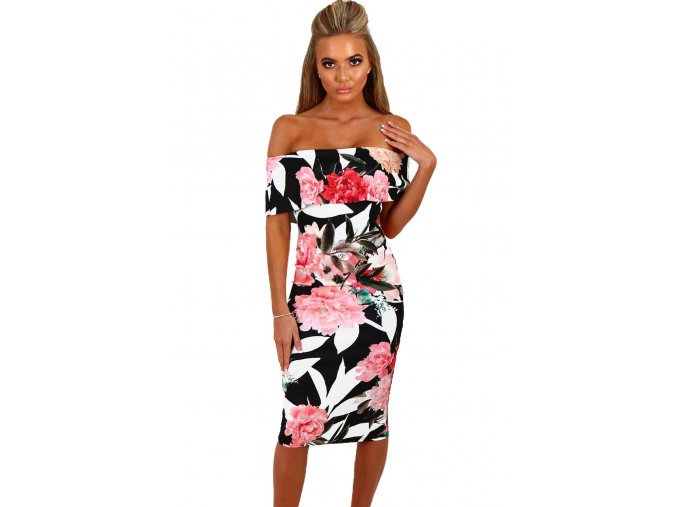 Black Multi Floral Bardot Bodycon Midi Dress LC61536 2 1