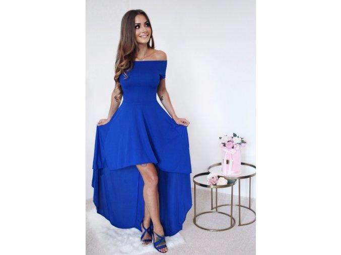 Asymetrické šaty s odhalenými ramenami v modrej