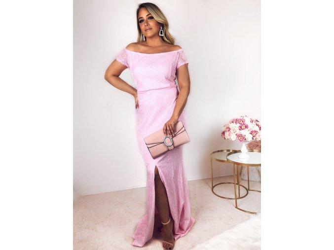 Dlhé ružové čipkované šaty
