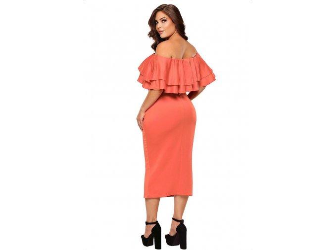 Korálové elegantné šaty s odhalenými ramenami