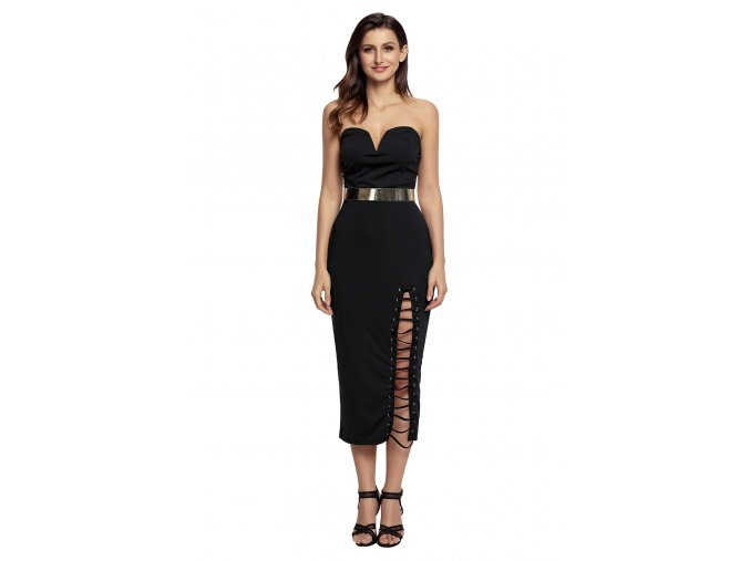Black Sexy Strapless V neck Side Slits Tube Midi Dress LC61598 2 4