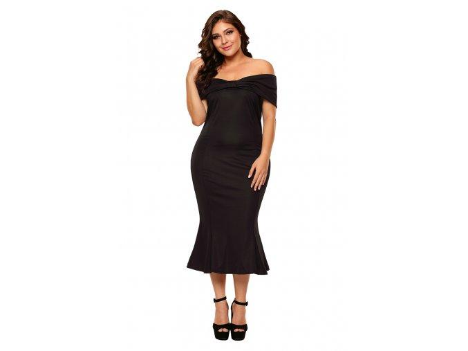 Elegantné čierne šaty pod kolená