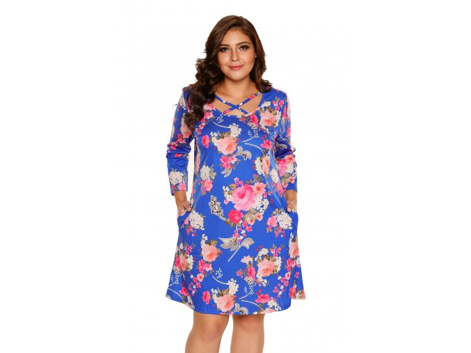 Royal Blue Floral Print Crisscross Neck Curvy Dress LC220127 5 4