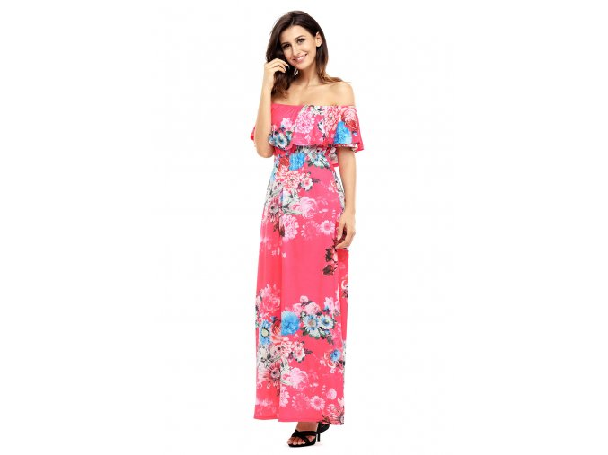 Flower Print Rosy Grounding Off Shoulder Long Boho Dress LC61585 6 4