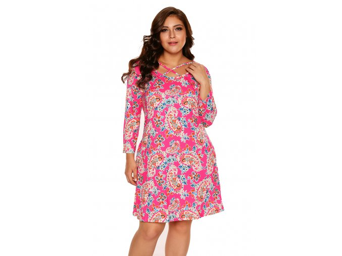Fuchsia Jade Printed Crisscross Neck Curvy Dress LC220127 3 4