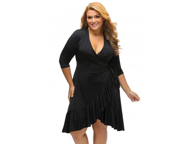 Black Whimsy Wrap Flounce Plus Size Dress LC61335 2 1