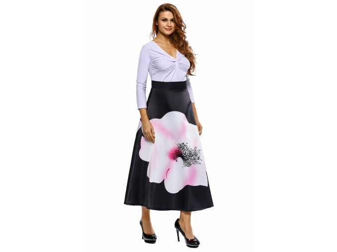 Big Flower Print Black High Waist Maxi Skirt LC65017 2 7