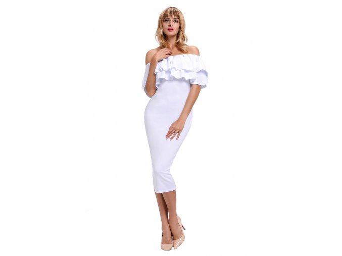 Biele elegantné šaty s odhalenými ramenami