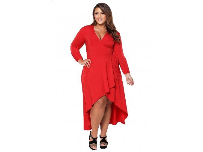 Asymetrické červené šaty