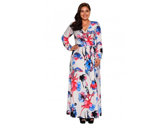 Blue Red Floral Print Sash Tie Plus Size Maxi Dress LC61770 1 3