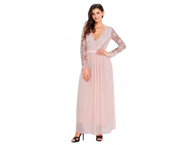 Svetlo-ružové spoločenské šaty s odhaleným chrbtom