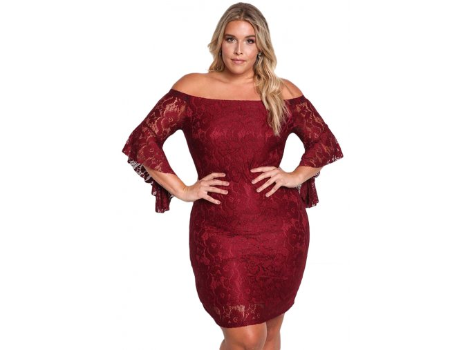 Burgundy Plus Size Off Shoulder Lace Bodycon Dress LC61779 3 1