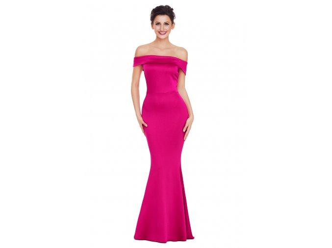 Ružové spoločenské šaty s odhalenými ramenami
