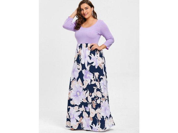 Dlhé fialovo-kvetinové šaty