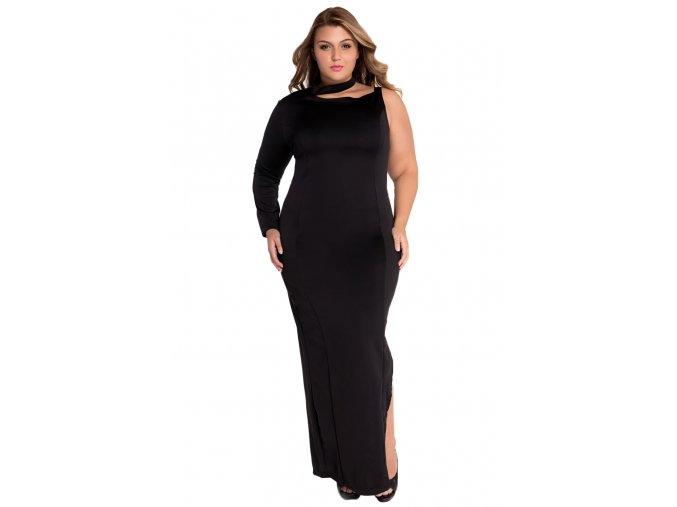 Black One Sleeve High Slit Plus Maxi Dress LC60890 2 6