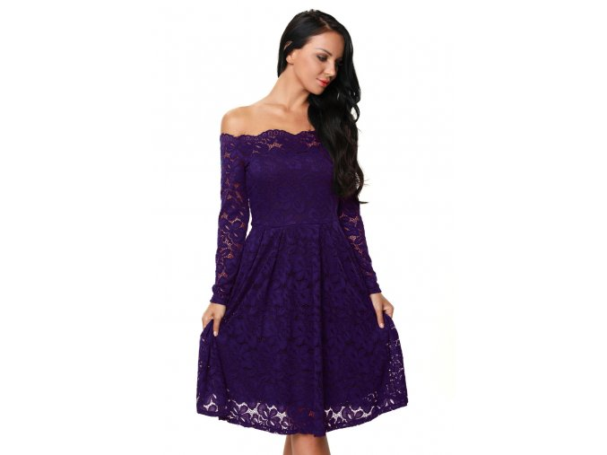 Purple Long Sleeve Floral Lace Boat Neck Cocktail Swing Dress LC61427 8 1