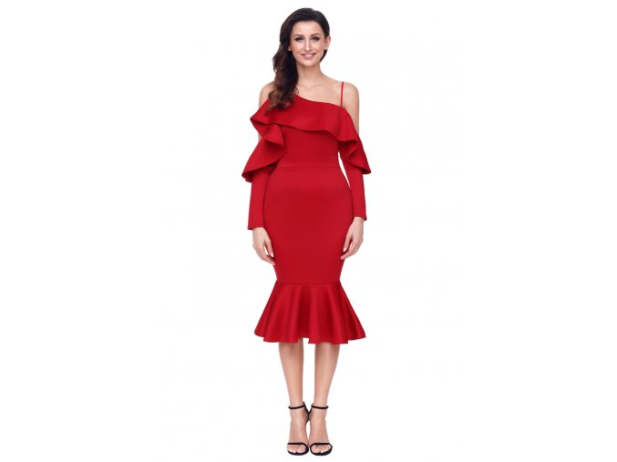 Red Asymmetric Slope Shoulder Mermaid Ruffle Dress LC61745 3 3
