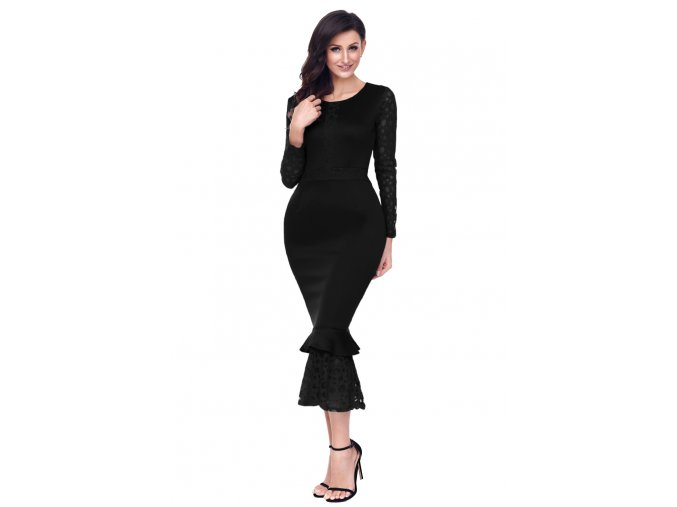 Black Hollow out Long Sleeve Lace Ruffle Bodycon Midi Dress LC61801 2 1